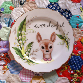 The Storybook Rabbit - Wonderful Little Doe with Green Bell Floral Vintage Illustrated Plate