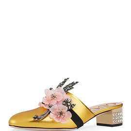 GUCCI - Candy Metallic Floral-Band Mule