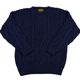 Eddie Bauer - Vintage-90s-Eddie-Bauer-Cable-Knit-Sweater-Navy-Blue-Mens-Size-Medium