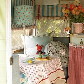 interior of tiny trailer