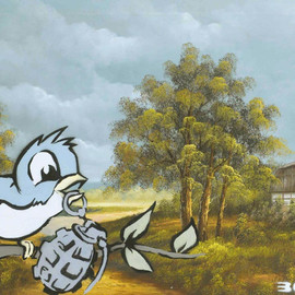 BANKSY - Bird and Grenade painting 2002