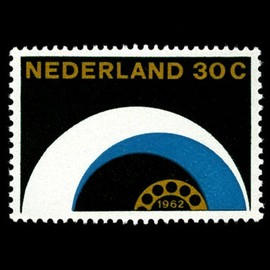 "PTT (Netherlands Post) - ""Telecommunications"" Stamp Designed by Otto Treumann"