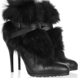 RALPH LAUREN - Vivian leather and shearling ankle boots
