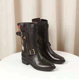 Burberry - Burberry Grantville Check And Leather Moto Boots In Black