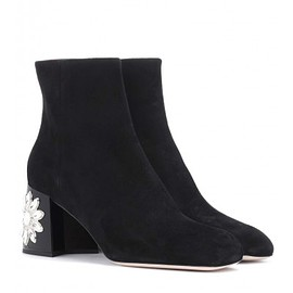 MIUMIU - Miu Miu Embellished suede ankle boots leather insole and sole P00299779 TNMCZGY