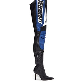 Vetements - Logo-appliqué over-the-knee leather boots