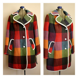TheGreatSociety - Vintage 1970s PLAID Colorful Coat  Super Mod With White Trim And Buttons