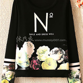 fashion - Image of [grzxy6601299]Flower Letters Print Striped Sweatshirt Jumper Shirt Crewneck Top