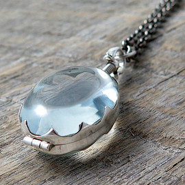 laurenblythedesigns - Sterling Silver Glass Locket Oval Pendant Necklace Wedding Jewelry Photo Locket Memory