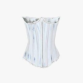 BALMAIN - Faded denim corset Top