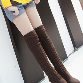 shoes - Image of [grzxy61900122]Cute Chic Stylish Wool Spliced Over-the-knee Boots