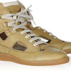 Maison Martin Margiela - Cutout Leather Hightop Sneakers in Beige