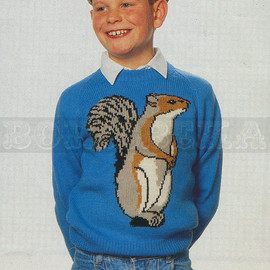 Vintage Adult & Childs SQUIRREL jumper knitting pattern (90s) (PDF)