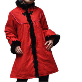 red coat - Women winter red long padded Loose Stand collar outerwear red coat