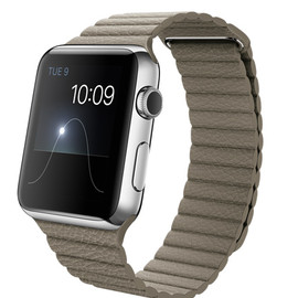 Apple - WATCH  42mm Stainless Steel Case with Stone Leather Loop