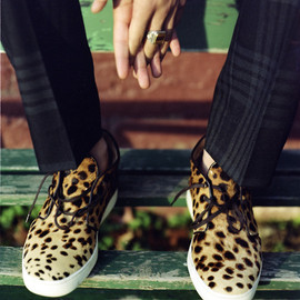 Christian Louboutin - leopard print pony hair sneakers