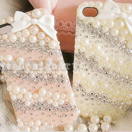 lovely bowknot pearl Rhinestone iphone case4/4s/5