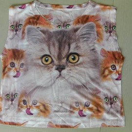 Achachumu Muchacha - Tongue cat sleeveless T-shirt inspection) Achachumu Muchacha