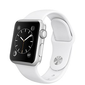 Apple - Apple Watch 38mm Silver Aluminum Case with White Sport Band