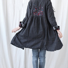 shirt - Cotton single breasted dress/ denim long shirt