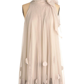 Ryu - All Neutral Dress by Ryu - Mid-length, Cream, Party, Sheath / Shift, Sleeveless, Solid, Bows
