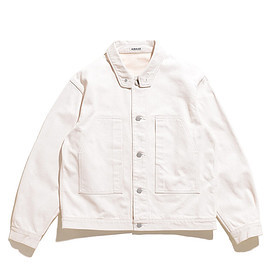 AURALEE - Hard Twist Denim Blouson-White×Ivory