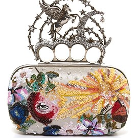 Alexander McQueen - FW2016 Flying-unicorn sequin-embellished knuckle clutch