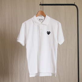 PLAY COMME des GARCONS - 綿鹿の子(黒エンブレム) Polo Shirt #white