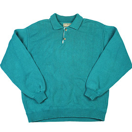 L.L.Bean - Vintage 1980s L.L.Bean 2-Button Sweater in Teal Made in USA Mens Size Medium