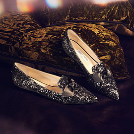 JIMMY CHOO - JIMMY CHOO Gabie Flat Anthracite Velvet Glitter Devoré and Black Satin Pointy Toe Flats