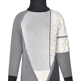 PRABAL GURUNG - FW2014 Asymmetrical Mixed Intarsia Sweater