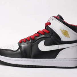 Jordan Phat 1 BlackWhiteRed Lace High Tops Leather