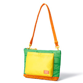 "HEAD PORTER - ""RUKA"" SHOULDER BAG GREEN/ORANGE"