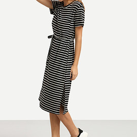 Romwe - Belted Black White Striped Tee Dress