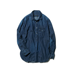 SOPHNET. - REGULAR COLLAR PULLOVER DENIM LONG SHIRT
