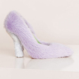 CELINE - 105MM ANGULAR FUR BICOLOR PUMP IN LILA/LIGHT BLUE FUR