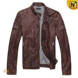 CWMALLS - Mens Brown Leather Motorcycle Jacket CW871156 - cwmalls.com
