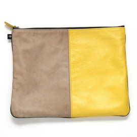 taupe and bright yellow two tone leather tote