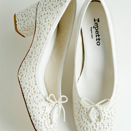 Repetto - White Ballerina Paname Broderieanglaise Pumps