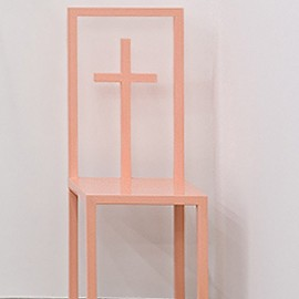 pink cross chair