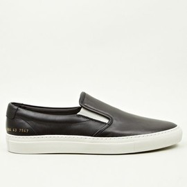 Common Projects - Men's Black Leather Slip-On Sneakers