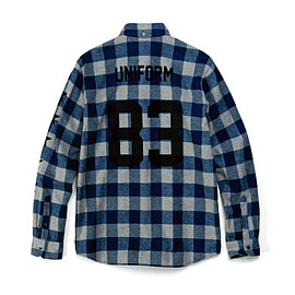 uniform experiment - NUMBERING STAR FLANNEL BLOCK CHECK B.D SHIRT