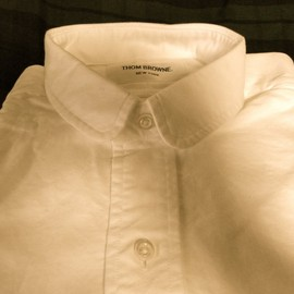 THOM BROWNE - Small Round Collar Oxford Shirt