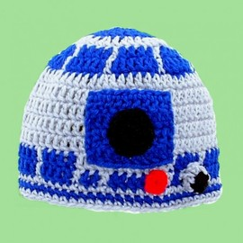R2D2 Hat, Gray and Blue Crochet Beanie from Star Wars, please send size Baby - Adult