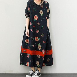 dress - Leisure round collar Cotton and linen long dresses Women dark blue long bottoming dress