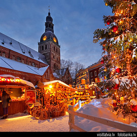 Christmas market at Doma square, Old Riga, Latvia
