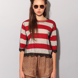 Eternal Child - Stripe lace mesh sweater