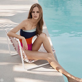 Tory Burch - Tory Burch Marguerite Colorblock One-Shoulder Swimsuit