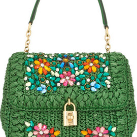 DOLCE&GABBANA - Dolce medium embellished raffia and leather shoulder bag