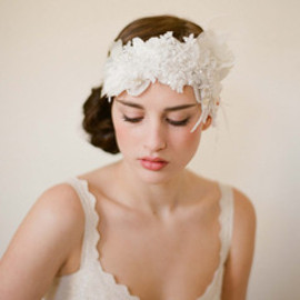 Twigs & Honey - Flapper headpiece in whites - Style # 249